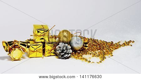 Merry Christmas trendy shinny decorations in gold color composition