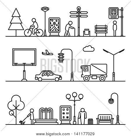 Line urban landscape illustration. Vector street cityscape outline patterns. Traffic , transportation, structure