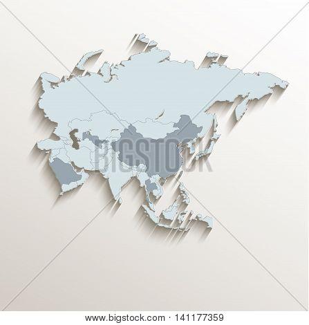 Asia political map white blue 3D vector