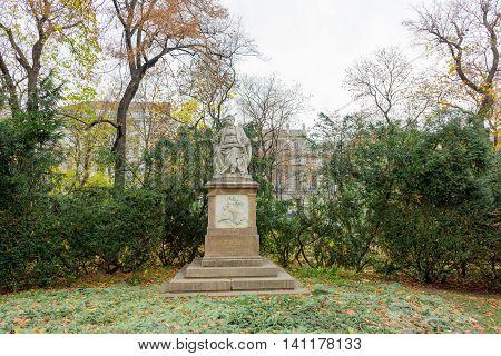 Franz Schubert statue in Stadpark. Vienna Austria