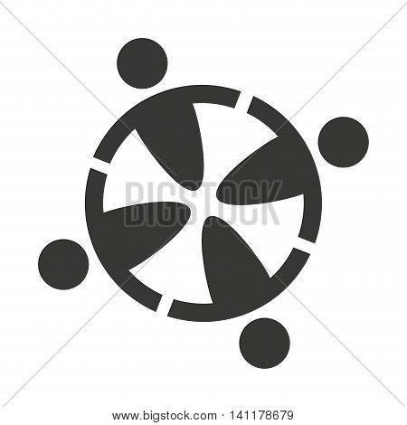 human figure group teamwork icon vector illustration