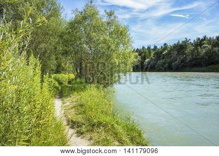 An image of a path at the river Isar Bavaria Germany