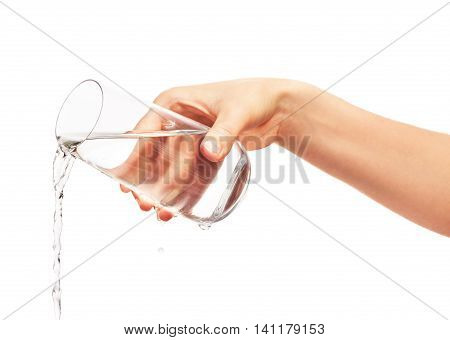 Water Pouring From Full Drinking Glass In Woman's Hand