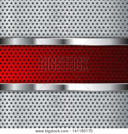 Metal perforated background with chrome frame and red steel plate. Vector illustration