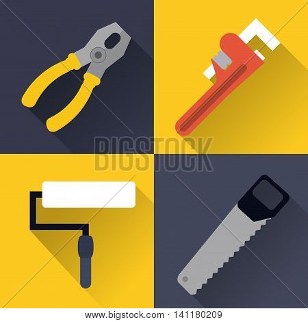 paint brush wrench saw pliers tool icon. Repair construction concept. Frame and Colorfull illustration. Vector graphic