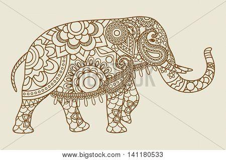 Mehendi Indian elephant illistration vintage colors. Vector illustration