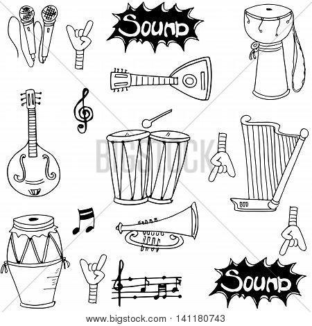 Music tool doodles illustration vector art stock