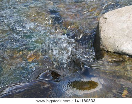 detail of small waves and bubbling water in the river