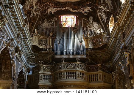ROME ITALY - JUNE 11 2015: Santa Maria della Vittoria / Our Lady of Victory/ is a Roman Catholic titular church dedicated to the Mary in Rome Italy