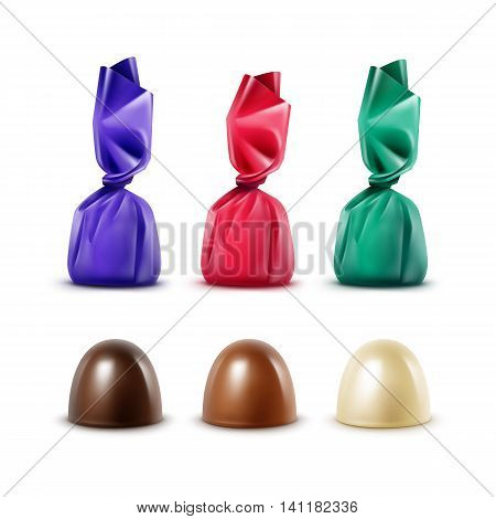 Vector Set of Realistic Dark Black Bitter White Milk Chocolate Candies in Foil Colored Turquoise Blue Dark Pink Red Glossy Wrapper Isolated on White Background