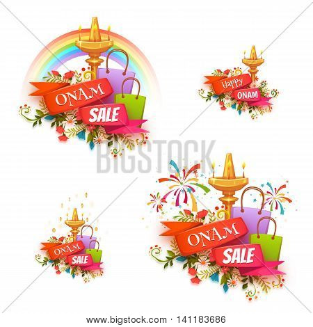 Onam holiday sale banner set with ribbon. Vector illustration.