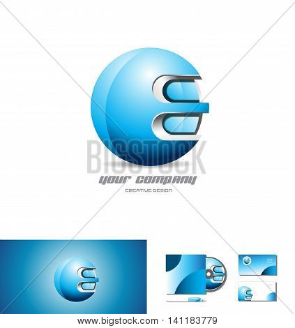 Blue metal sphere vector company logo icon element template 3d design corporate