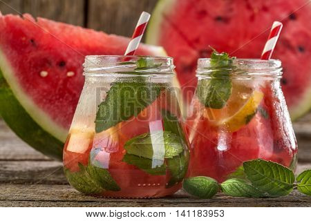 ice refreshing summer drink with watermelon lemon and mint