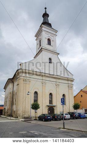 SPISSKE PODHRADIE SLOVAKIA - AUGUST 18 2015: Classicist Protestant Church in Spisske Podhradie Town Slovakia.