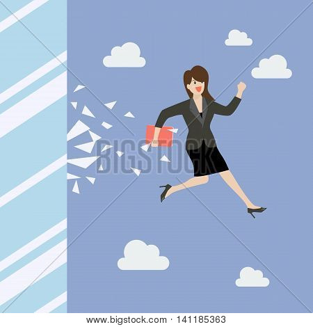 Business woman jump and broke glass window. Business concept