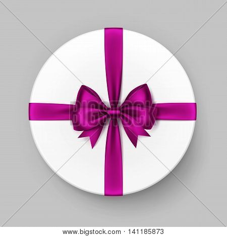 Vector White Round Gift Box with Shiny Magenta Dark Pink Purple Satin Bow and Ribbon Top View Close up Isolated on Background