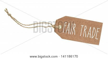 Tag On A White Background With The Text Fair Trade