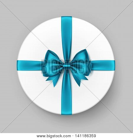 Vector White Round Gift Box with Shiny Light Blue Turquoise Azure Satin Bow and Ribbon Top View Close up Isolated on Background