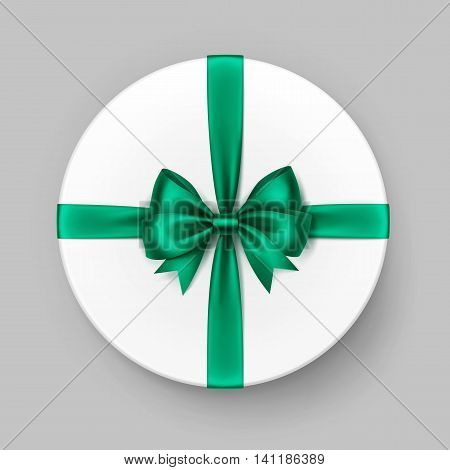 Vector White Round Gift Box with Shiny Bright Green Emerald Satin Bow and Ribbon Top View Close up Isolated on Background