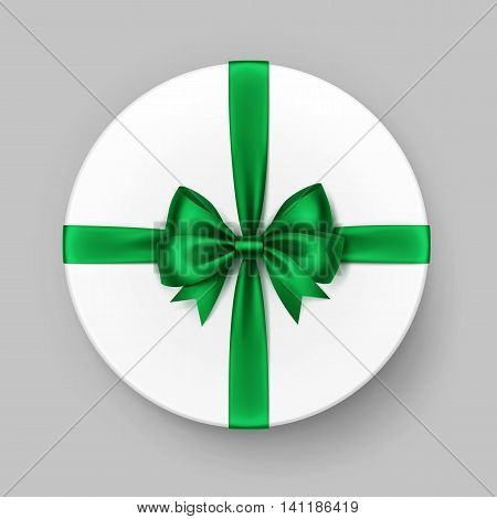 Vector White Round Gift Box with Shiny Bright Green Satin Bow and Ribbon Top View Close up Isolated on Background