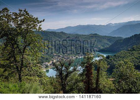Garfagnana Tuscany Italy - The artificial lake of Gramolazzo Serchio Valley Tuscany Italy view from the old churh of Gorfigliano