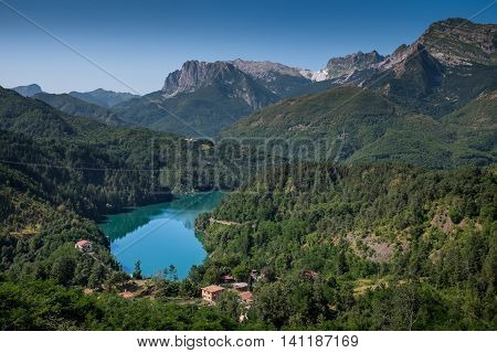 Garfagnana Tuscany Italy - The artificial lake of Gramolazzo Serchio Valley Tuscany Italy view from the village of Castagnola