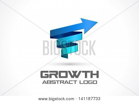 Abstract logo for business company. Corporate identity design element. Technology, Science, Industrial and growth Logotype idea. Arrow up, wave, connect, spring, rotation, spiral concept. Colorful Vector icon