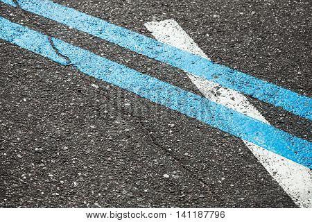 Blue Double Dividing Line On Asphalt Road
