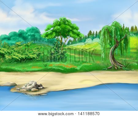 Digital Painting Illustration of a trees by the river in a summer day. Cartoon Style Character Fairy Tale Story Background.