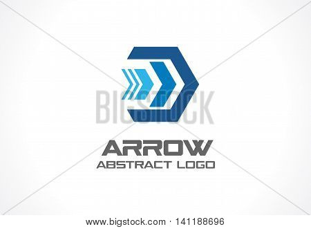 Abstract logo for business company. Corporate identity design element. Technology, social media, internet and network logotype idea. Digital connect, continue arrow concept. Colorful Vector icon