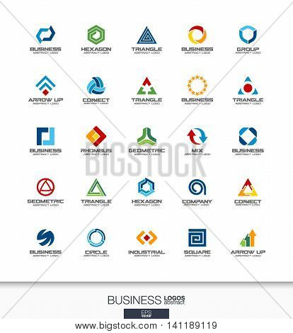 Abstract logo set for business company. Corporate identity design elements. Technology, banking, finance concepts. Industrial, development, marketing logotype collection. Colorful Vector icons