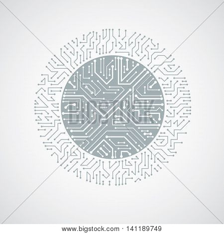 Futuristic Cybernetic Scheme, Vector Motherboard Black And White Illustration. Circular Element With