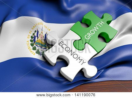 El Salvador economy and financial market growth concept, 3D rendering