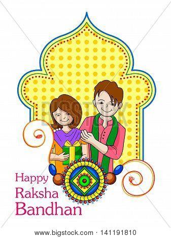 Vector illustration of brother sister in Raksha Bandhan