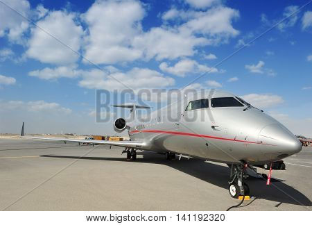 SAKHIR KINGDOM OF BAHRAIN - JANUARY 21: Executive Jet at Sakhir Airbase during the 2nd Bahrain International Airshow 19-21 Jan 2012 in Bahrain.