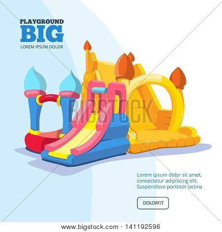 Vector illustration of inflatable castles and children hills on playground. Pictures for your personal design project with place for your text