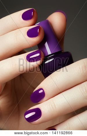 Bottle Of Nail Polish. Beauty Hands. Trendy Stylish Colorful Nai