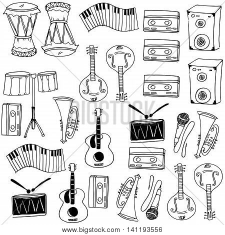 Collection stock music doodles on white backgrounds illustration