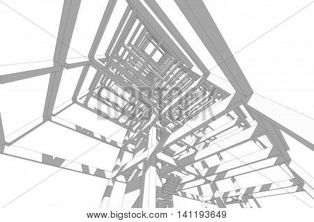 reinforced concrete,high building structure architecture abstract, 3d illustration,architecture drawing poster