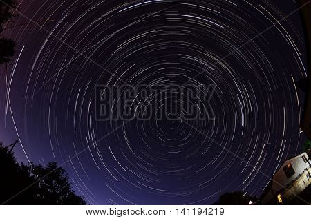Star trails at night, Near Kiev,Ukrane