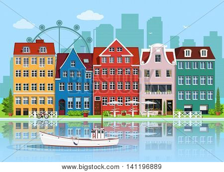 Facades of cute european old buildings. Detailed graphic houses set. Old town, water reflection and boat. Flat style vector illustration.