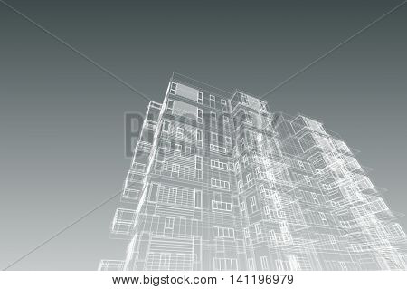 high building structure architecture abstract, 3d illustration,architecture drawing