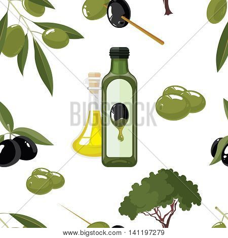 vector seamless pattern set of Olives, tree, oil botles and leaf isolated on white background. Pictures for your personal design project.