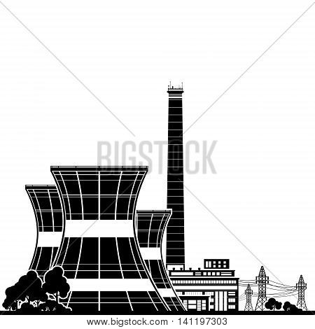 Silhouette Nuclear Power Plant ,Thermal Power Station ,Nuclear Reactor and Power Lines ,Vector Illustration