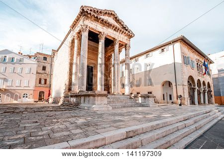 Ancient temple of Augustus in the main town square in Pula city in Croatia