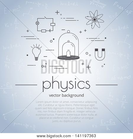 Vector illustration with icon set of school subject - physics.