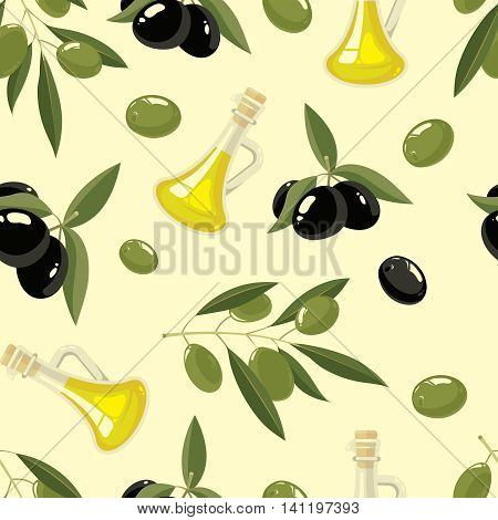 vector seamless pattern set of Olives, tree, oil botles and leaf isolated on light background. Pictures for your personal design project.