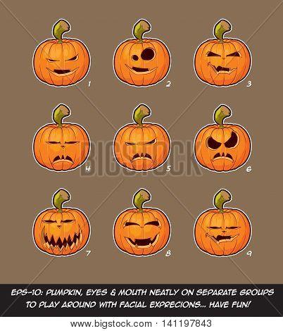 Jack O Lantern Cartoon - 9 Vampire Expressions Set