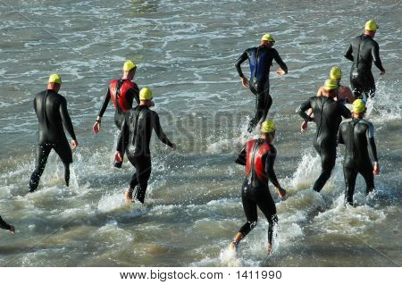 Group Of Triathletes