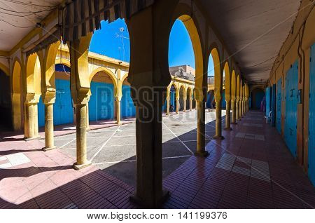 Moroccan colorfull building in Tiznit, South Morocco